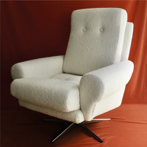 Cream Boucle Swivel Chair