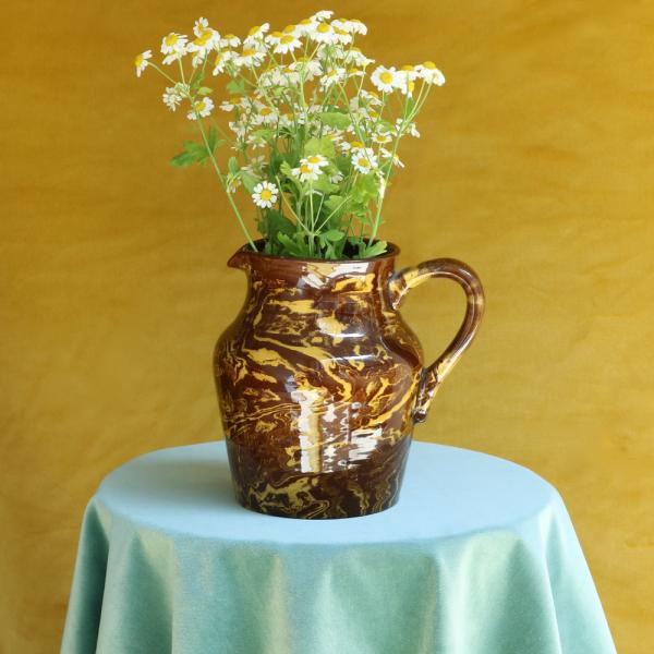 Vintage Brown Swirl Jug With Flowers
