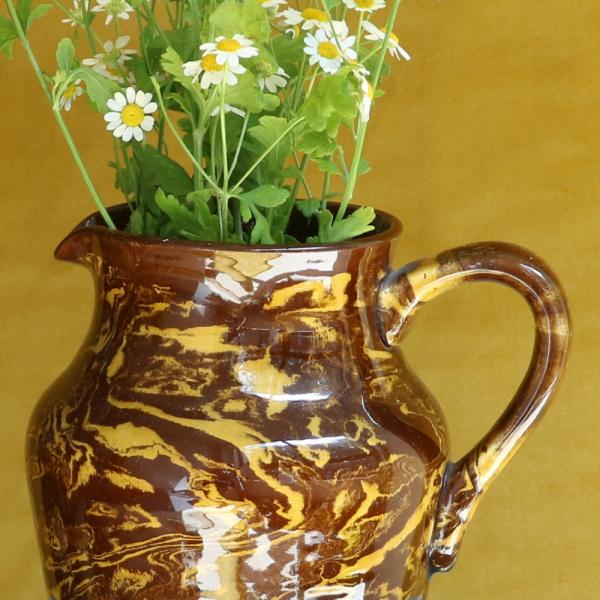 Vintage Brown Swirl Jug Close-up