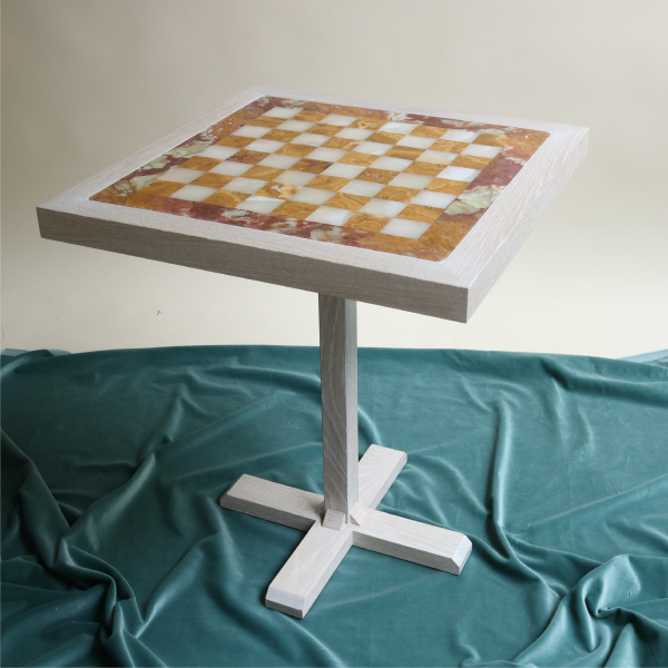 Rust Cream Marble Chess Table