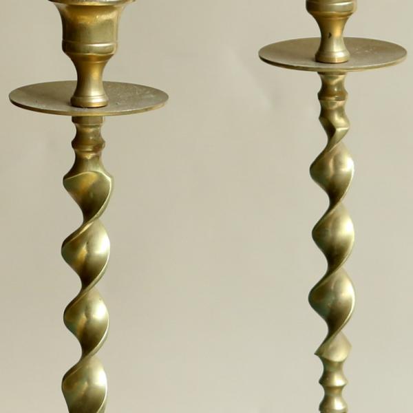 Swirl Brass Candlesticks Detail