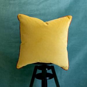 Yellow Velvet Cushions Orange Trim
